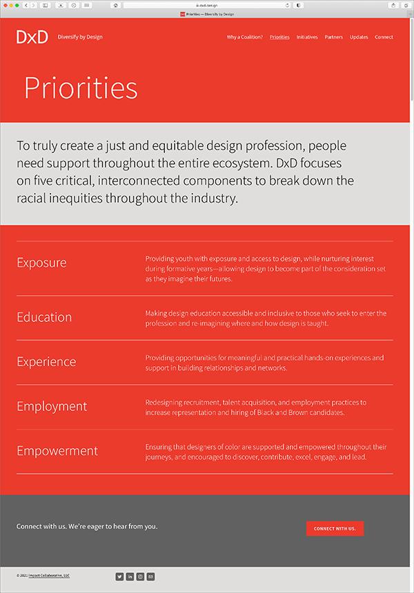 Diversify by Design Priorities Webpage